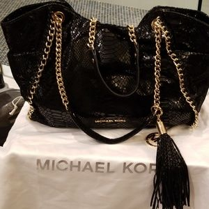 Michael Kors snake embossed leather satchel